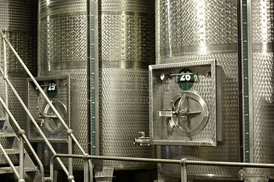 Buy stock photo Tankers for fermenting wine inside a wine factory