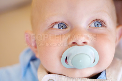 Buy stock photo Closeup of a smiling baby boy