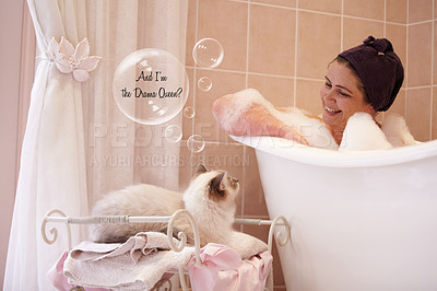Buy stock photo A woman sitting in a bathtub looking lovingly at her cat which has a speech bubble over its head