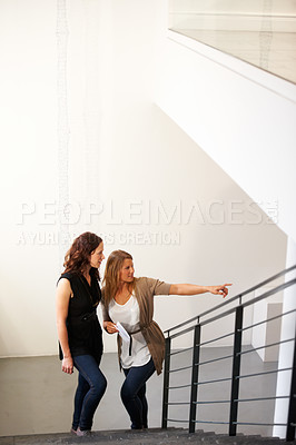 Buy stock photo Two young female friends finding their way around the lobby of a building