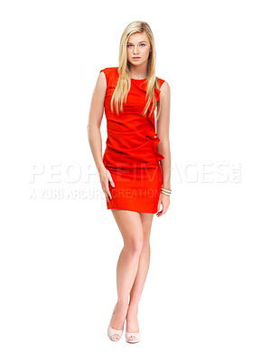 Buy stock photo A gorgeous young woman in a red dress isolated against a white background