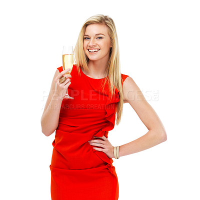 Buy stock photo A stunning young blonde woman in a red dress holding a glass of champagne