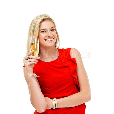 Buy stock photo Portrait of a gorgeous young woman holding a glass of champagne