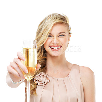 Buy stock photo A gorgeous young blonde woman holding up a glass of champagne