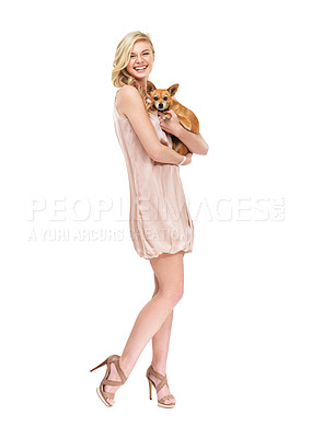 Buy stock photo Full length portrait of a formally dressed young woman holding a dog