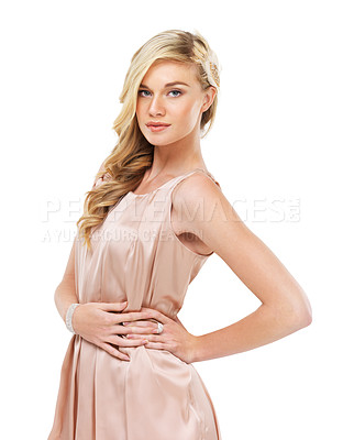 Buy stock photo Portrait of a gorgeous young blonde woman in a cocktail dress