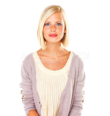 Buy stock photo Gorgeous young blond woman with a composed expression standing against a white background