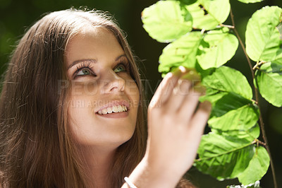 Buy stock photo A pretty young woman looking at the leaves on a tree