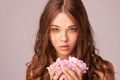 Buy stock photo Gorgeous young woman holding a handful of rose petals against a pink background