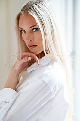 Buy stock photo Closeup portrait of a beautiful woman in her bedroom