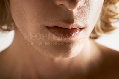 Buy stock photo Cropped image of a young man's mouth