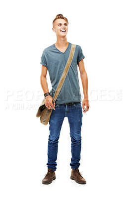 Buy stock photo A full length studio shot of a stylish young man carrying a messenger's bag isolated on white
