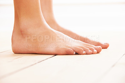Buy stock photo Close-up of feet on a wooden floor