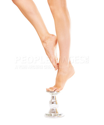 Buy stock photo Closeup of a woman balancing on a metal stand