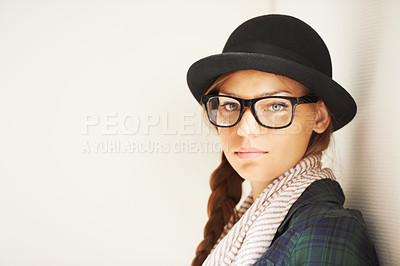 Buy stock photo A young hipster girl in studio