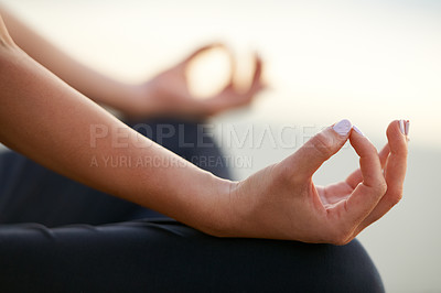 Buy stock photo Cropped profile view of two hands in the lotus position