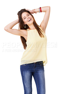 Buy stock photo Studio shot of a confident young woman posing against a white background
