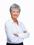 A smiling senior woman with arms folded isolated over white