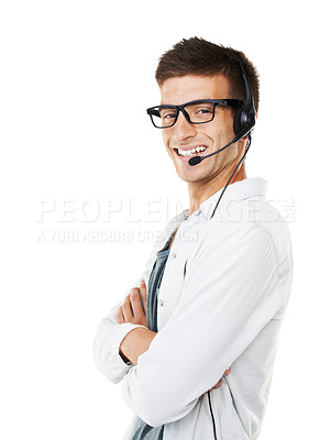 Buy stock photo Portrait of a smiling hipster man with a headset on and his arms crossed