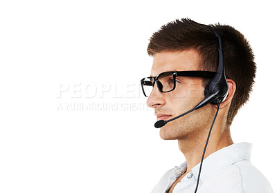 Buy stock photo Profile of a serious man with hipster glasses and a headset on