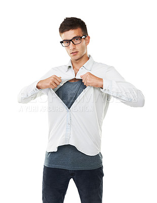 Buy stock photo Portrait of a man with hipster glasses opening his shirt with a white background