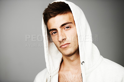 Buy stock photo Portrait of good looking male with a hoodie on