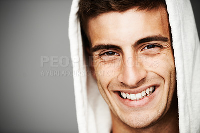 Buy stock photo Portrait of a smiling male with his hoodie on