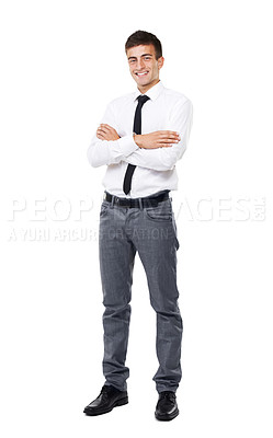 Buy stock photo A full length image of a business man with a white background