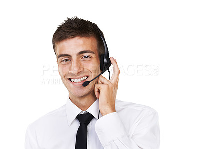 Buy stock photo Portrait of a smiling male with a headset on