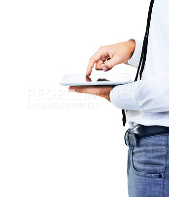 Buy stock photo A side view cropped image of a man touching his touch screen
