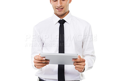 Buy stock photo A man holding a touchscreen with a white background
