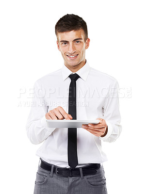 Buy stock photo Portrait of a smiling man holding his touchscreen