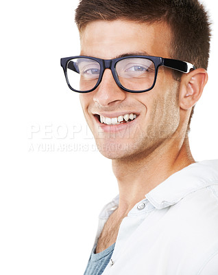Buy stock photo Portrait of a smiling male with hipster glasses on