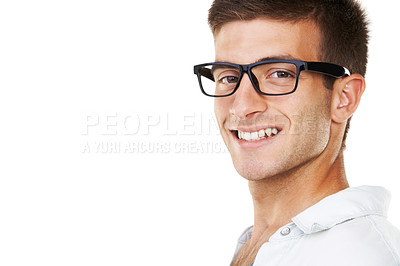 Buy stock photo Portrait of a casual male with hipster glasses on