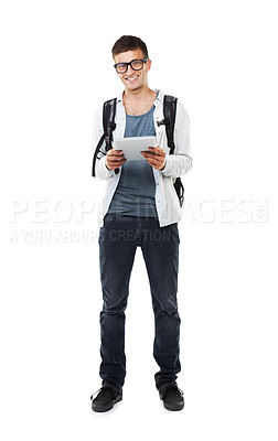 Buy stock photo A full length studio shot of a smiling geek holding his touch screen