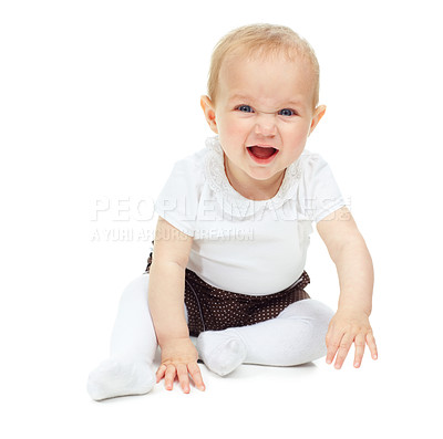 Buy stock photo A beautiful little baby girl isolated against a white background