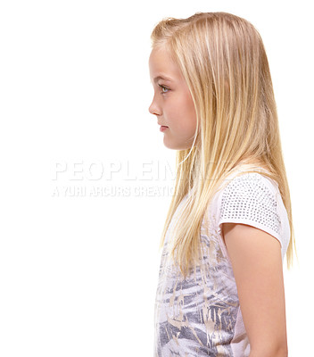 Buy stock photo Profile portrait of a young girl against a white background