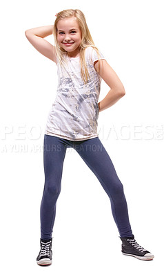 Buy stock photo Full length shot a young girl posing against white background
