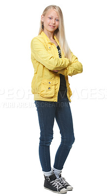 Buy stock photo Full length shot of a young blonde girl looking cool, isolated on white