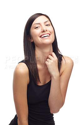 Buy stock photo A cute young woman laughing while isolated on a white background