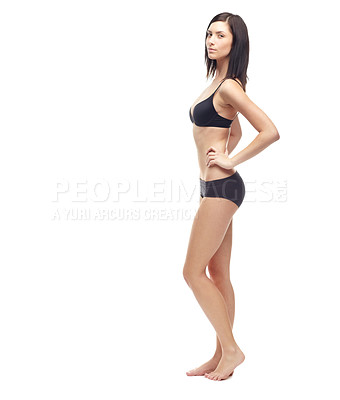 Buy stock photo A beautiful young woman in her underwear isolated on a white background