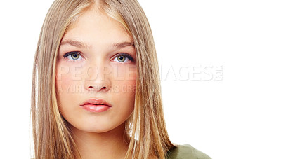 Buy stock photo A gorgeous teenager looking serious