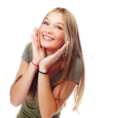 Buy stock photo A beautiful teenager with her hands to her face