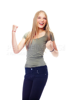 Buy stock photo A gorgeous teenager punching the air with excitement!