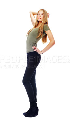 Buy stock photo A beautiful teenager posing against a white background