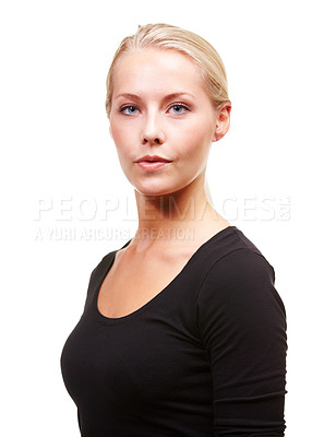 Buy stock photo Portrait of a gorgeous young blonde woman looking poised, isolated on white