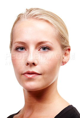 Buy stock photo Portrait of a serious young blonde woman, isolated on white