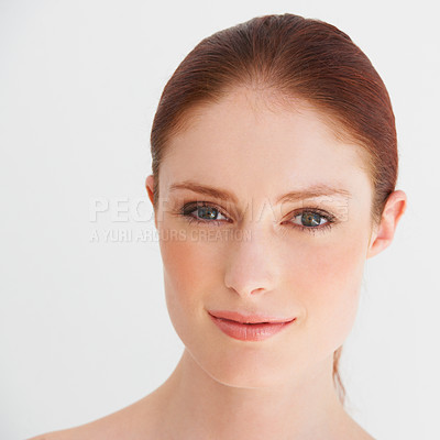 Buy stock photo Candid portrait of an alluring woman