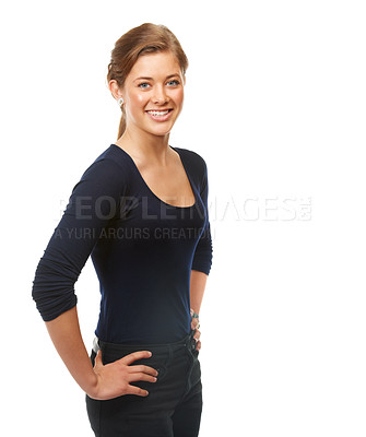 Buy stock photo Studio shot of a beautiful young woman posing against a white background