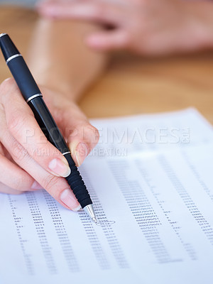 Buy stock photo Closeup of a female hand writing on a document